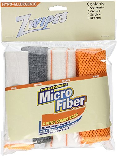 Zwipes Microfiber Kitchen Cleaning Cloth Set, 4 Count