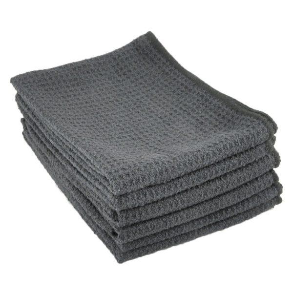 Zwipes Microfiber Waffle Weave Kitchen Dish Towel, 6-Pack, Black