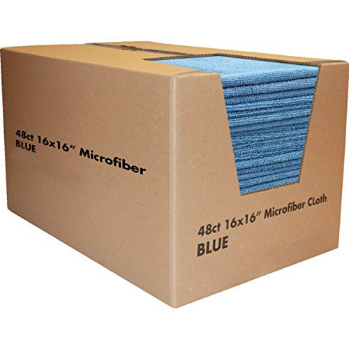 "Microfiber Terry Cloths 16 x 16"", Blue Package Of 48"