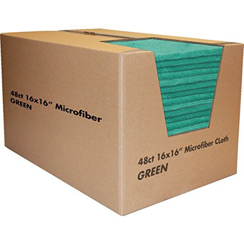 "Cleaning Towels, Microfiber 16 x 16"", Green Package Of 48"