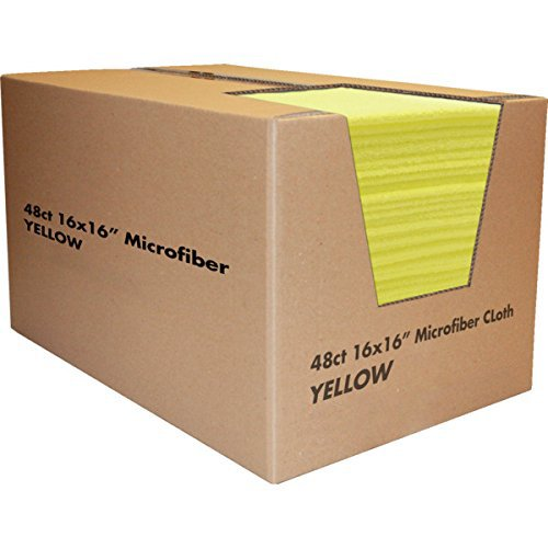 "Yellow Microfiber Cleaning Cloths 16 x 16"", Package Of 48"