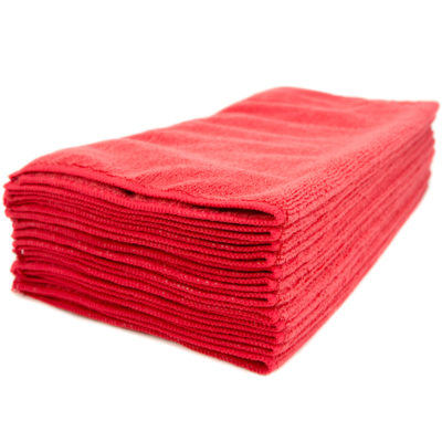 "Red Microfiber Cleaning Towel 16 x 16"", Package Of 12"