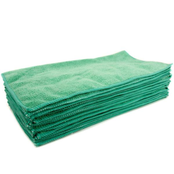 """Green Microfiber Towel: Green Microfiber Cleaning Towel 16 X 16"""", Package Of 12"""